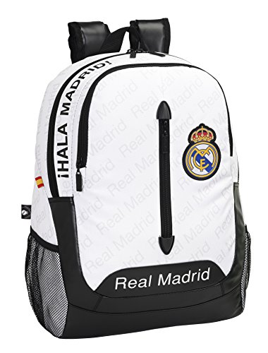 Safta 076420 Real Madrid Mochila Adaptable, Color Blanco