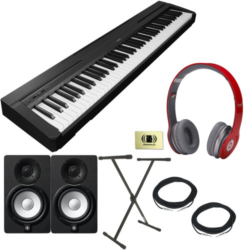 Yamaha P-Series P-35 88-Key Digital Piano With Graded Hammer Standard Keyboard And Built-In Speaker System Bundle With Beats By Dr. Dre Solo Hd On-Ear Headphones (Red), 2 Yamaha Hs5 Speakers, 2 Conquest Sound Speaker Cables, Stageline X-Style Keyboard Sta