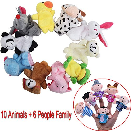 Awkii16PCS-Finger-Puppets-Set-Novelty-Educational-Toys-for-Baby-Story-Time-Shows-Playtime-Schools-including-10-Animals-6-People-Family