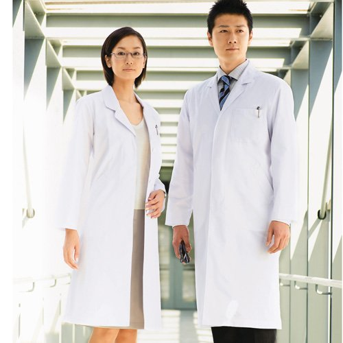 白衣 ドクターコート メンズ シングル 白 L