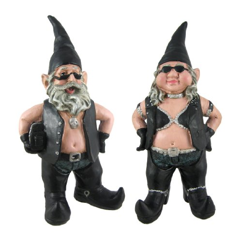 Gnoschitt and Gnofun Pair of Biker Garden Gnomes Statue Motorcycle Leather 9 Inch Figures