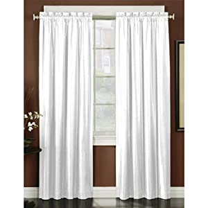 Arlee Home Fashions Off White Whisper Faux Silk Blackout Rod Pocket Curtain Panel Pair 84 Inch