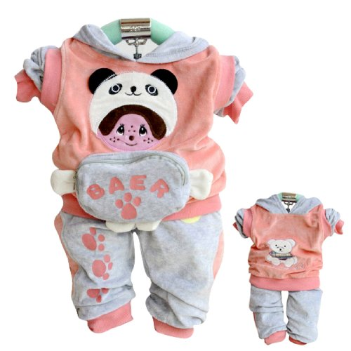TKC Cute Baby Girls Outfits Velvet Bear 2 Side Wear Casual Clothes 12-24M Rose
