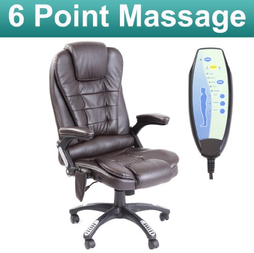 RIO BROWN RECLINING MASSAGE LEATHER OFFICE CHAIR w 6 POINT MASSAGE HIGH BACK COMPUTER DESK 360 SWIVEL