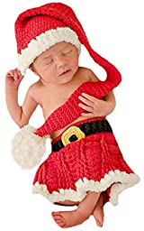Newborn Melondipity\'s Santa Girl Stocking Cap, Skirt and Booties SET - 3 Piece Set