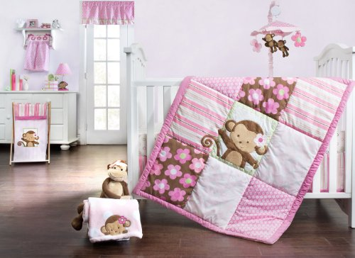 Kids Line 4-Piece Crib Bedding Set, Sweet Monkey