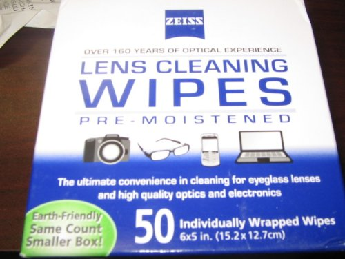 Zeiss Pre-Moistened Lens Cleaning Wipes To Clean Eyeglasses, Cell Phones, Cameras And More. 50 Individually Wrapped Wipes