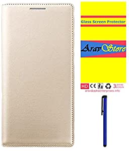 Aravstore Premium Leather Flip Case Cover For - Lava A72 - Gold , Tempered Glass Scren Cover, Stylus