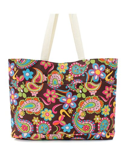 Brown Paisley Pattern Large Canvas Tote Bag For Shopping Or Travel
