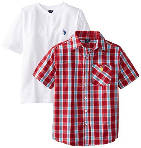 U.S. Polo Assn. Big Boys' Short Sleeve Plaid Sport Shirt And V-Neck T-Shirt Set, Engine Red, 10/12