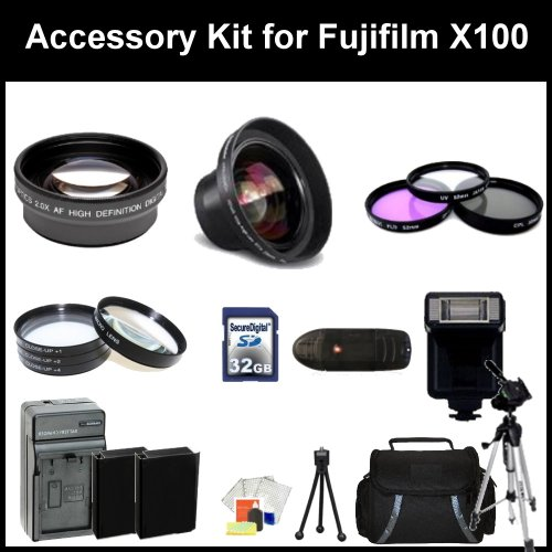 Accessory Kit for Fujifilm X100 Digital Camera. Package Includes: 0.45X Wide Angel Lens, 2X Telephoto Lens, 3 Piece Filter Kit(UV-CPl-FLD), 4 Piece Macro Filter Set (+1,+2,+4,+10), 32GB Memory Card, Memory card Reader, 67