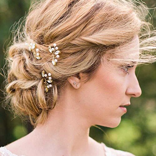 Venusvi Ivory Pearl Clip, Bridal Hair Pins, Wedding Hair Accessories, Set of 3