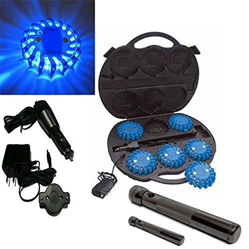 6 Pack Blue Rechargable Waterproof Led Magnet Safety Flare With 9 Operating Modes + Free Chargers And Travel Case And Led Flashlight Set!