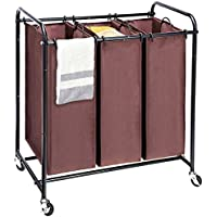 MaidMAX Metal Rolling Heavy Duty Triple Laundry Hamper Cart Basket