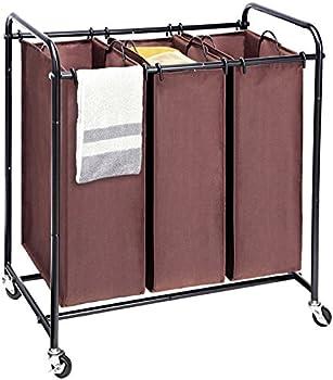 MaidMAX Metal Rolling Heavy Duty Triple Laundry Hamper Basket