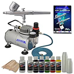 MASTER Multi-Purpose AIRBRUSH Kit With Airbrush Depot 1 Year Warranty Tankless Compressor and 6 Foot Air Hose Set, Createx Paint, Mixing Sticks & Cups