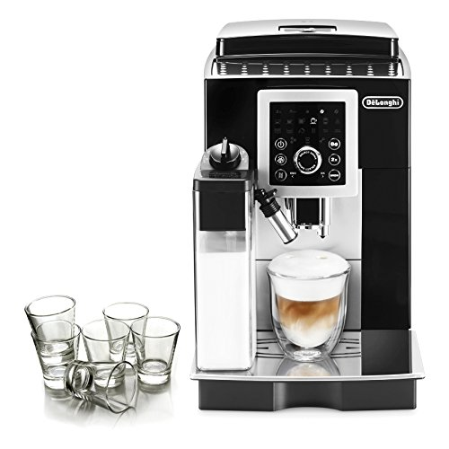 DeLonghi Magnifica S Black Smart Automatic Cappuccino Machine with Free Set of 6 Italian Espresso Shot Glasses