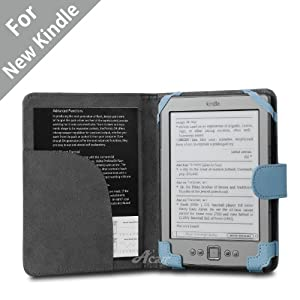 """Acase(TM) Classic Kindle Leather Case (Sky Blue) for 4th Generation 6"""" Kindle Wi-Fi w/o Keyboard (Not for Kindle Touch)"""