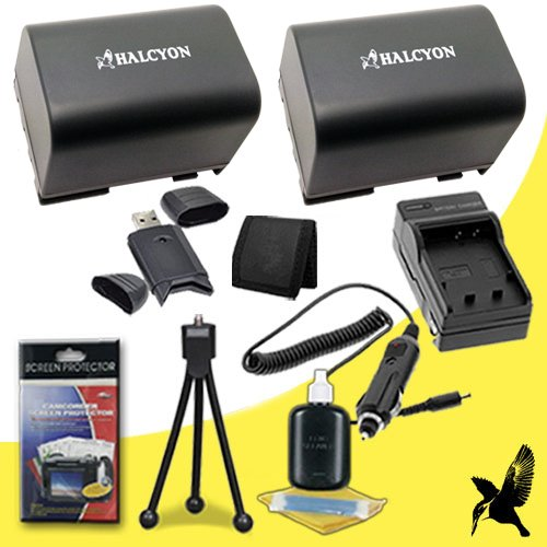 Two Halcyon 1300 Mah Lithium Ion Replacement Bp2L12 Battery And Charger Kit + Memory Card Wallet + Sdhc Card Usb Reader + Deluxe Starter Kit For Canon Vixia Hv30 Minidv High Definition Camcorder And Canon Bp-2L12