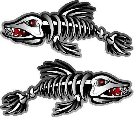 ProSticker 1500 (Two, A Right and a Left facing) 3″ X 7″ Fishing Art Series Fish Skeleton Decals Sticker