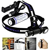 Lumintrail LED Headlamp Flashlight 1050 Lumens Lightweight Multi-functional Hands Free Portable Angle Head Worklight with 5 Light Modes and Magnetic Tailcap (Headlamp + Battery + Charger)