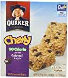 Quaker Oatmeal Raisin Chewy Granola Bars 90 Calories, 8 Bars per Pack (Pack of 6)