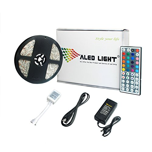 ALED LIGHT LEDテープ 5M 300連 SMD5050 5M/300LED テープ型 正面発光防水仕様 RGB リモコン操作 カラー選択可能 切断可能 IP65 ベース:ホワイト(白)