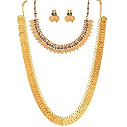 Zeneme Red Gold-Plated Coin Chain Long Necklace , Short Chain Necklace With Stud Earring Set For Women