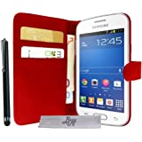 Etui Housse Luxe Rouge Stand et Portefeuille pour Samsung Galaxy Trend Lite S7390 + STYLET et 3 FILM OFFERT !