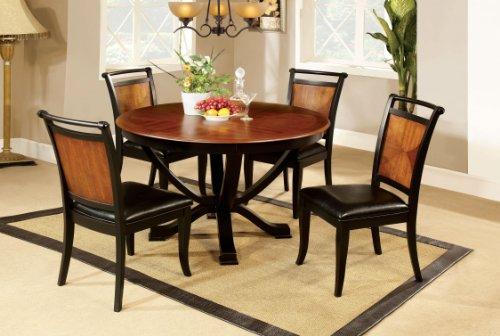 Superb Furniture of America Sahrifa Piece Duotone Round Dining Table Set Acacia and Black Finish