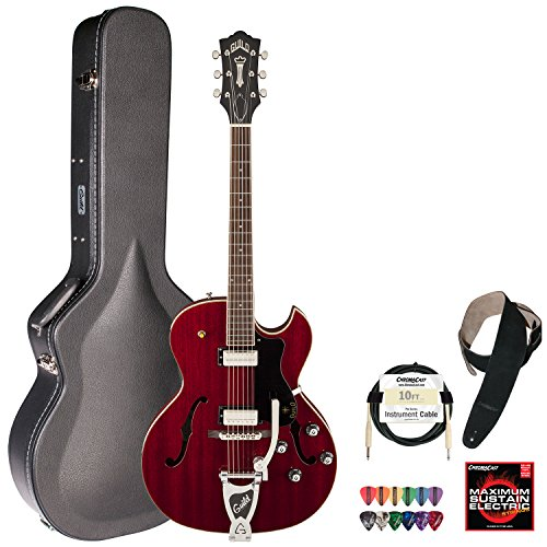 Guild Cherry Red Starfire Iii Hollowbody Electric Guitar W/Guild Vibrato Tailpiece With Guild Hard Case, Chromacast Electric Strings, Cable, Strap And Picks