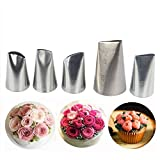 Meao 5 Pieces Large Piping Tips Set - Stainless Steel Piping Nozzles Kit for Pastry Cupcakes Cakes Cookies Decorating #3 (Color: Silver #3)