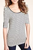 Autograph Ruched Striped Jersey Top [T50-3068-S]