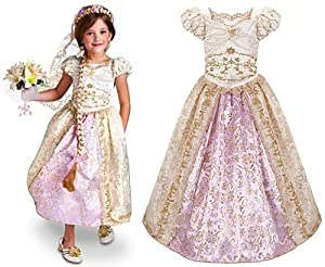 Amazon Disney Store Princess Rapunzel Wedding Gown Costume Dress For Girls Size Medium 7 8