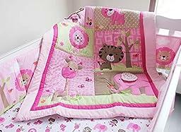 New Baby Girls Sweet Neutral Safari 7pcs Crib Cot Bedding Set