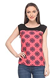 Wearsense Women's Top (Pink and Black, Medium)