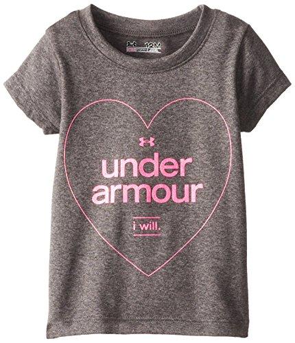 Under Armour Baby-Girls Infant Ua Foil Short Sleeve T-Shirt, Carbon Heather, 18 Months front-812807