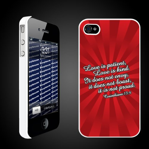 Valentines Day Corinthians 134   iPhone Hard Case   White Protective iPhone 4/iPhone 4S Case.