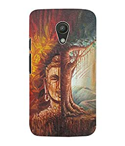 Fuson 3D Printed Lord Buddha Designer Back Case Cover for Motorola Moto G2 - D565
