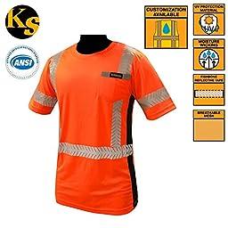 KwikSafety Class 2 High Vis Reflective Short Sleeve Moisture Wicking ANSI Safety Shirt - UV Protection, Contrasting Black Sides, FishBone Reflective Tape, & Left Chest Pocket, Orange, Size Large