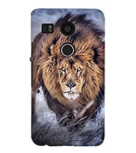 LION A POWERFULL CREATION OF NATURE 3D Hard Polycarbonate Designer Back Case Cover for LG Google Nexus 5X :: LG Google Nexus 5X (2nd Gen) :: Google Nexus 5X :: Nexus 5X (2015)