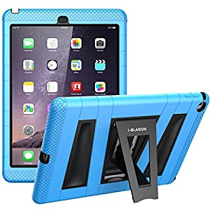 iPad Air 2 What really happened, i-Blason ArmorBox **Dual Layer** Protective Case for Apple iPad Air 2 (iPad 6) 9.7 Inch iOS 8 Tablet [Kickstand / with Bulit-in Strainer Protector] for Kids Friendly - Blue /Black