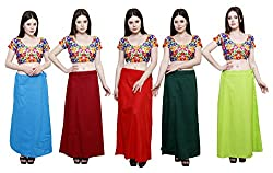 Pistaa combo of Women's Cotton Turquoise Blue, Deep Maroon, Red, Dark Green and Parrot Green Color Best Readymade Comfort Inskirt Saree petticoats