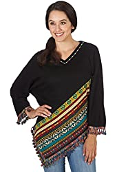 Women's Southwestern Sweater Poncho With Sleeves