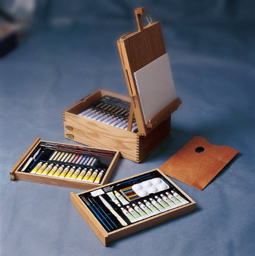 Artist Every Media Easel Box Set for All Levels/total 99 Pc Set/ Wooden Box Easel with Painting and Drawing Supplies/ Acrylic, Oil, and Watercolor Paints, Brushes, Palette, Canvas, Pastels, Color Pencils, Painting Knife and so Many More