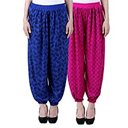 NumBrave Printed Viscose Blue & Purple Harem Pants (Pack of 2)