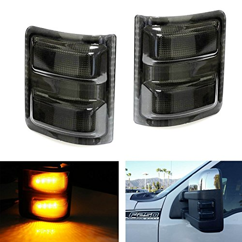Restyling Factory 2008-2016 Ford Super Duty F250+F350/F450/F550/F660 Smoke Lens Mirror Amber LED Light Kit Set 1 Pair Replacement for Factory OE Towing Mirror Turn Signal Light (2008 Super Duty Mirrors compare prices)