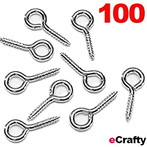 "100 Silver Eye Screw Eye Bails for Mini Bottle Corks Crafts 8mm 1/3"" DIY Jewelry from eCrafty.com"