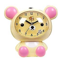 YIJIA Cute Bear Shape Kids Desk Alarm Clock Cartoon Battery Powered Analog Mute Alarm Clock with Night Light(Beige)