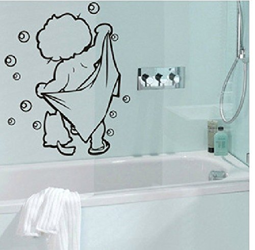 FairyTeller Lovely Baby Love Shower Bathroom Bubble Wall Stickers Glass Door Stickers Cute Children Shower Decals Poster